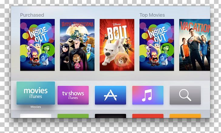 Television Apple TV (4th Generation) User Interface PNG