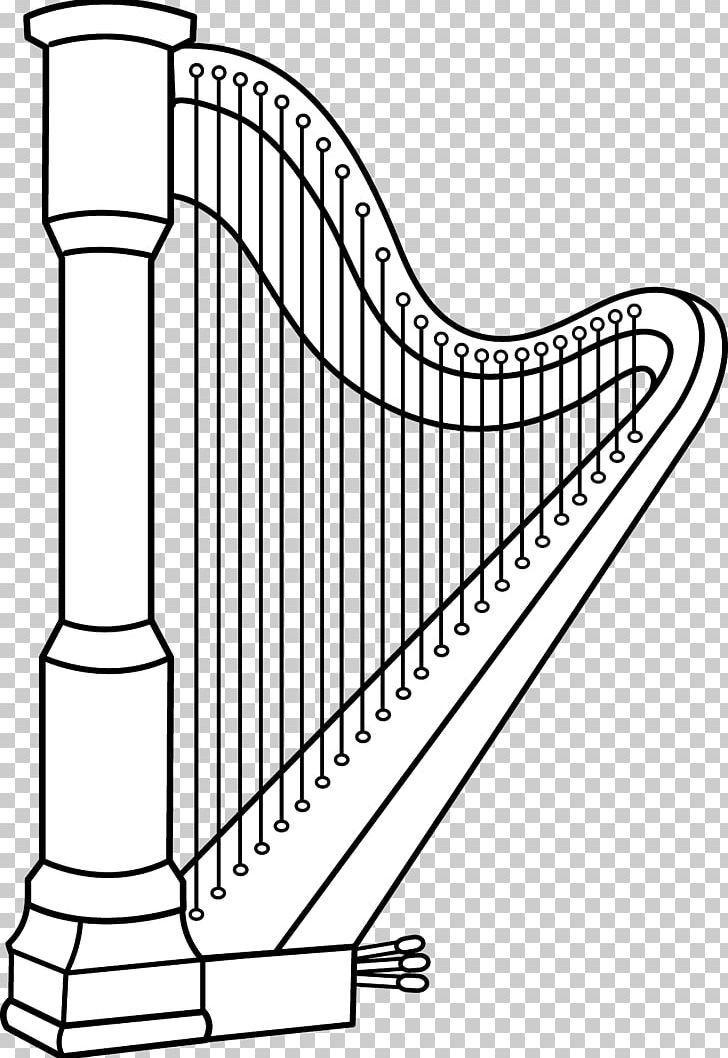 Celtic Harp Musical Instruments Coloring Book PNG, Clipart, Angle, Area, Art, Black And White, Celtic Harp Free PNG Download