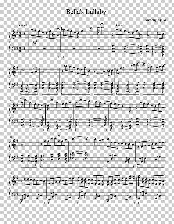Edward Cullen Bella Swan Bella's Lullaby Piano Sheet Music PNG