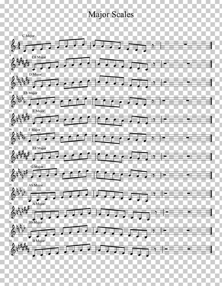 Sheet Music Major Scale Trumpet B-flat Major PNG, Clipart, Angle