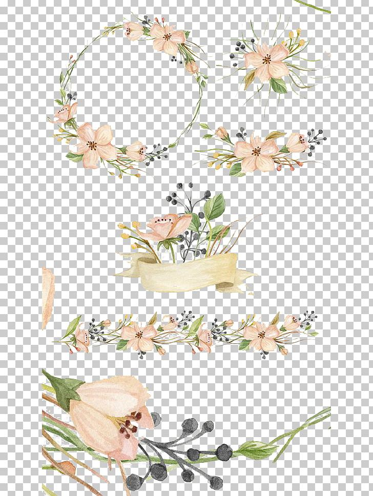 Watercolor Painting Creative Market Pink Flowers PNG, Clipart, Art, Blossom, Border, Branch, Cartoon Free PNG Download