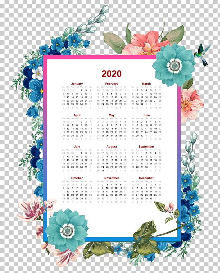Mini Calendario 2020 Png.2020 Flower Yearly Calendar Able Template Png Clipart Art
