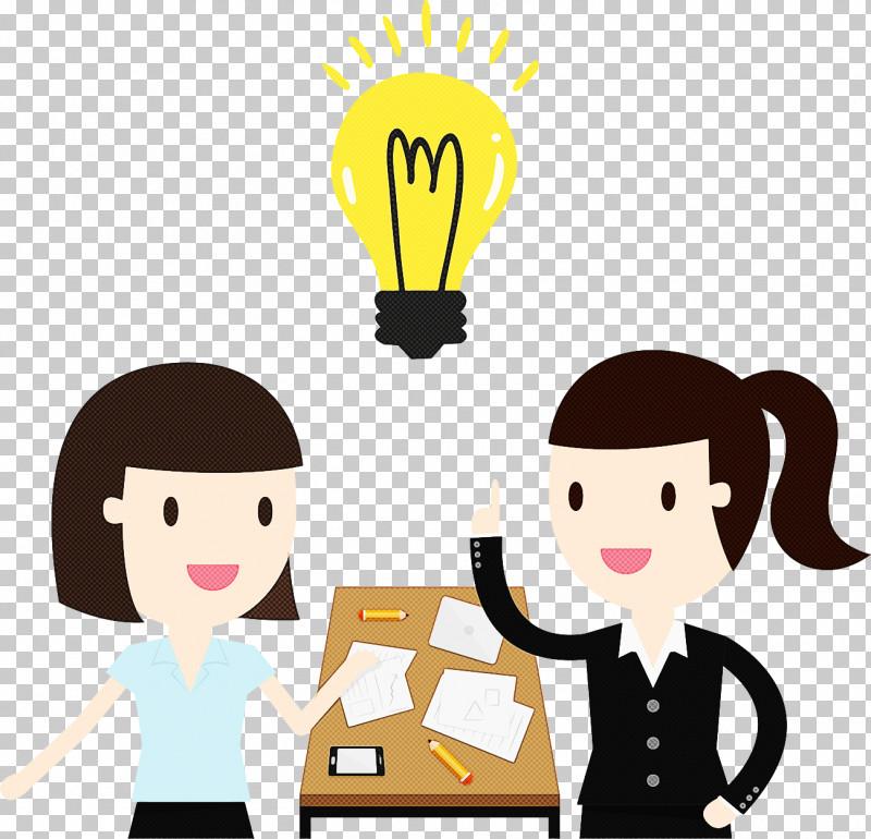 Cartoon Yellow Conversation Gesture Sharing PNG, Clipart, Cartoon, Conversation, Gesture, Happy, Sharing Free PNG Download