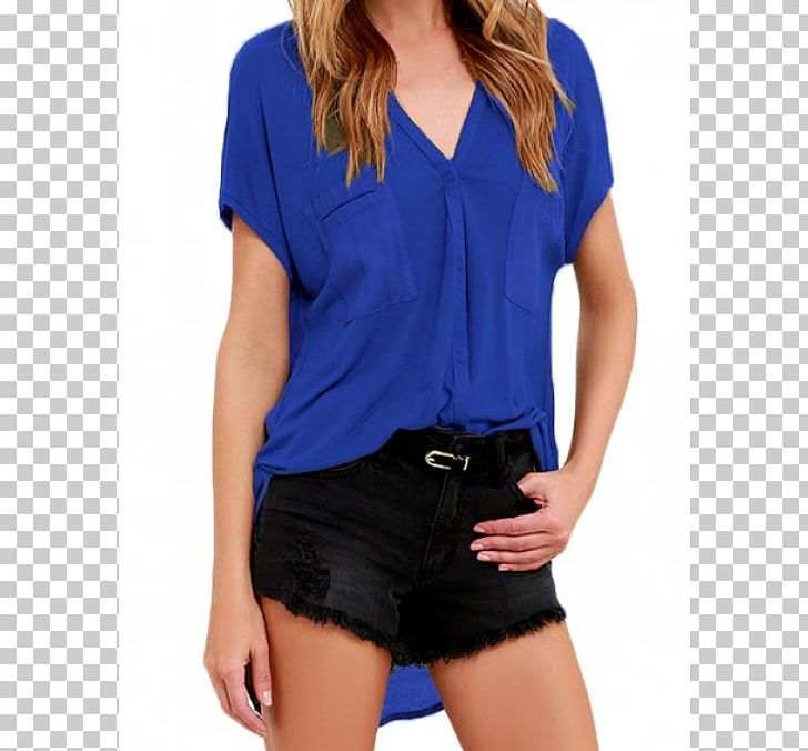 T-shirt Blouse Tube Top Clothing Neckline PNG, Clipart, Blouse, Button, Clothing, Cobalt Blue, Collar Free PNG Download