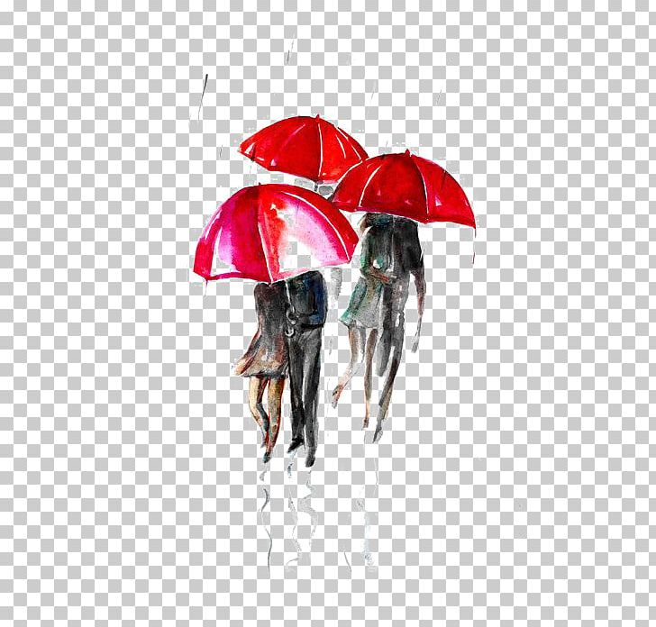 Paris Street; Rainy Day Umbrella Watercolor Painting Illustration PNG, Clipart, Art, Crowd, Designer, Drawing, Fashion Accessory Free PNG Download