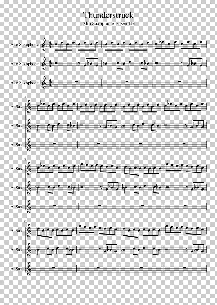 Sheet Music Alto Saxophone Music Thunderstruck PNG, Clipart, Acdc