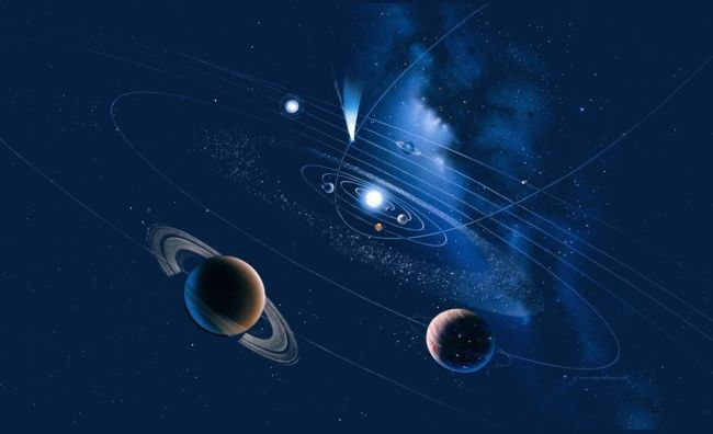 Planet galaxy. Blue png clipart abstract