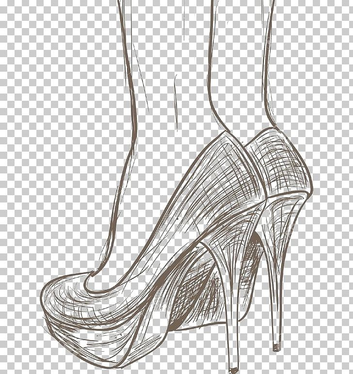 Shoe Drawing High,heeled Footwear Nike Sketch PNG, Clipart