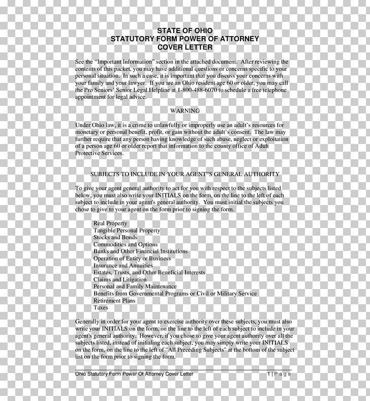 Ohio Power Of Attorney Statute Form Law PNG, Clipart, Area ...