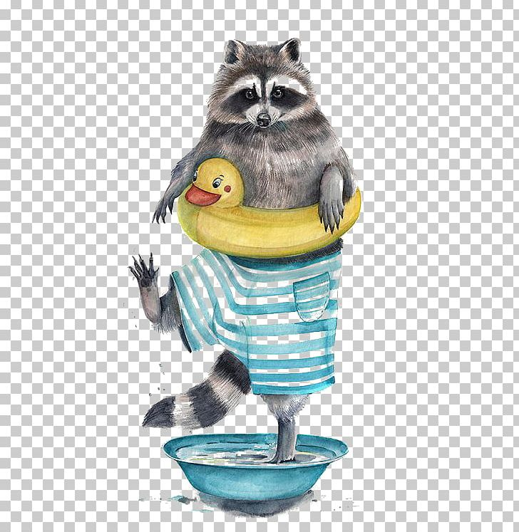 Raccoon Watercolor Painting Drawing Illustrator Illustration PNG, Clipart, Animals, Art, Cartoon, Creative Ads, Creative Artwork Free PNG Download