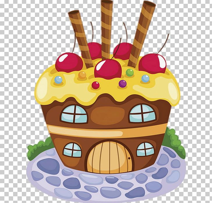 Cupcake Illustration Drawing Gingerbread House Cartoon Png
