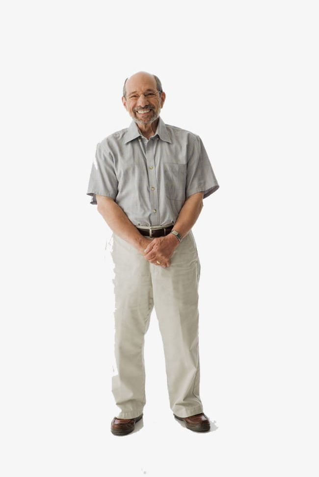 Body man. Cute old standing on