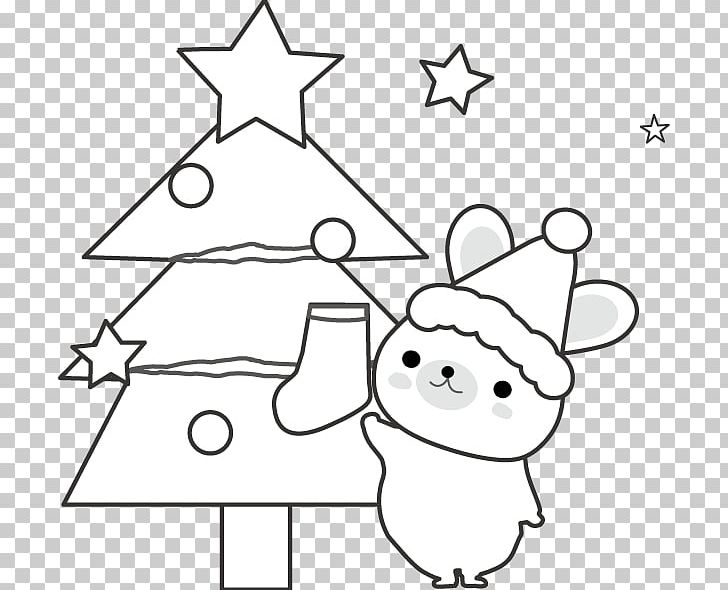 Christmas Tree Black And White Png Clipart Angle Art Black