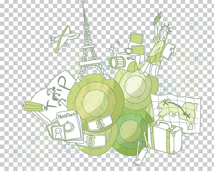 Statue Of Liberty Eiffel Tower Illustration PNG, Clipart, Adobe Illustrator, Area, Background Green, Brand, Circle Free PNG Download