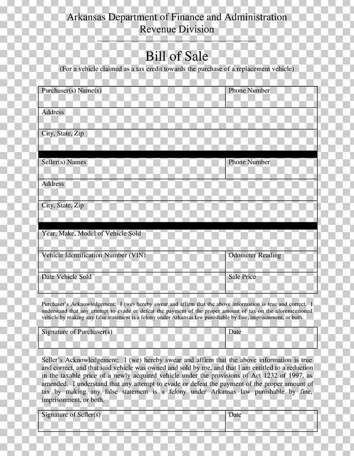 Arkansas Bill Of Sale >> Arkansas Bill Of Sale Form Car Invoice Png Clipart Area