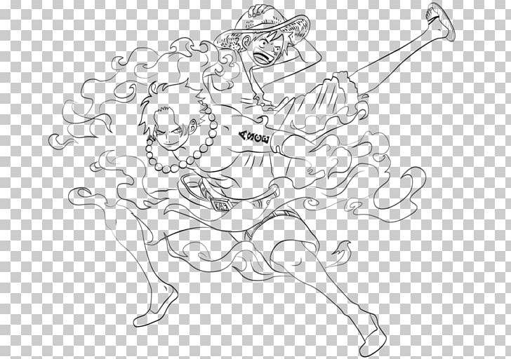 Line Art Portgas D Ace Drawing Monkey D Luffy Sketch Png