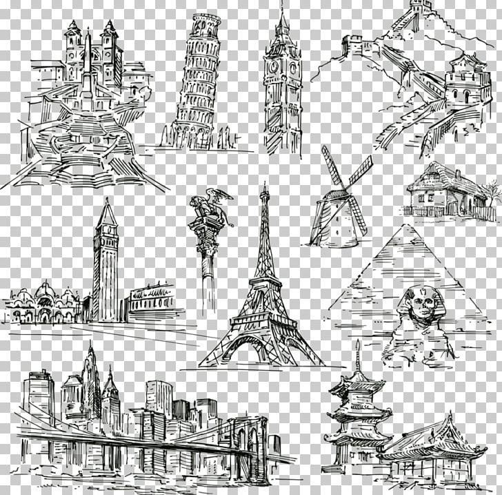 Statue Of Liberty Eiffel Tower Landmark Drawing PNG, Clipart, Artwork, Attractions, Black, Black And White, Building Free PNG Download