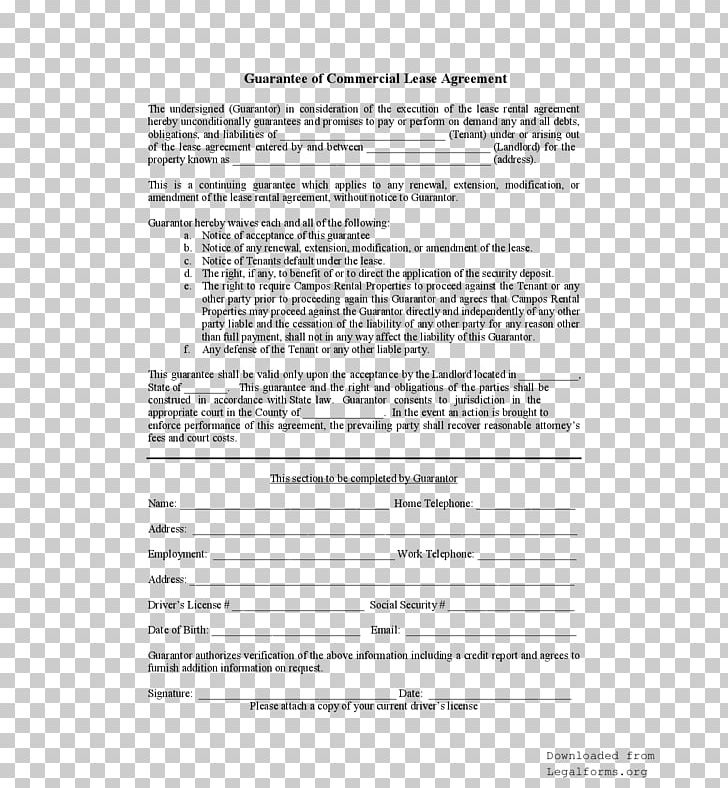 Personal Guarantee Form Contract Surety Png Clipart Free