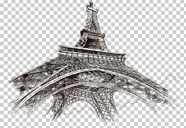 Eiffel Tower Champ De Mars Drawing Sketch PNG, Clipart, Arch, Architecture, Black And White, Building, Buildings Free PNG Download