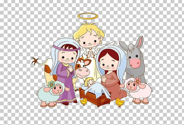 Christmas Scene Drawing.Rudolph Santa Claus Nativity Scene Drawing Christmas Png