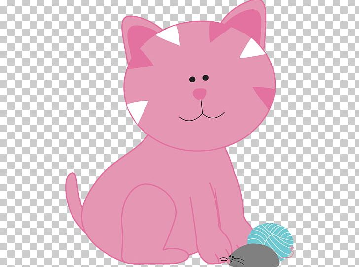 Cat pink. Kitten mouse png clipart