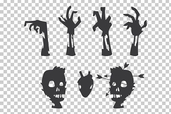 Silhouette Zombie Black And White Illustration Png Clipart Black