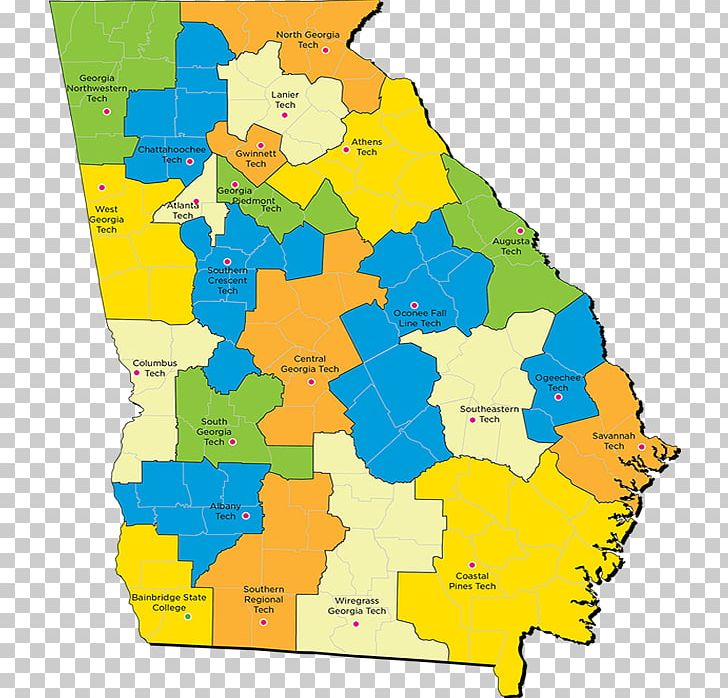 Map Of Georgia Colleges.Technical College System Of Georgia Map University School