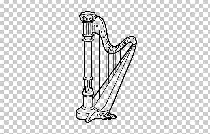 Harp Drawing Musical Instruments Coloring Book PNG, Clipart, Angle, Auto Part, Black And White, Celtic Harp, Clarsach Free PNG Download