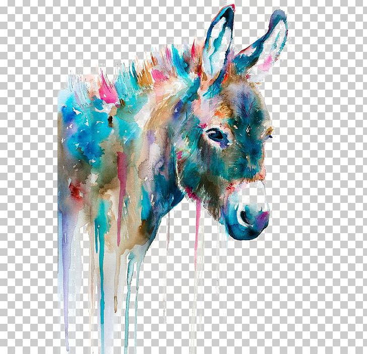 Watercolor Painting Art Printmaking Oil Painting PNG, Clipart, Animal, Animal Donkey, Animals, Art, Artist Free PNG Download