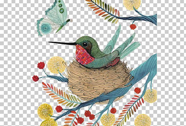 Hummingbird Watercolor Painting Illustration PNG, Clipart, Animals, Art, Beak, Bird, Bird Cage Free PNG Download