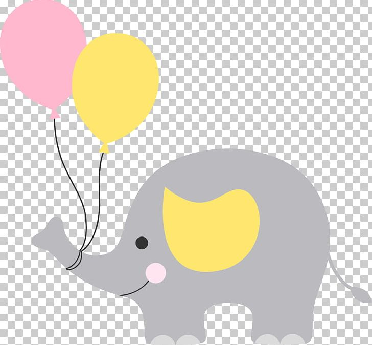 Baby Shower Elephant Png Clipart Baby Shower Balloon Carnivoran Cartoon Cat Like Mammal Free Png Download