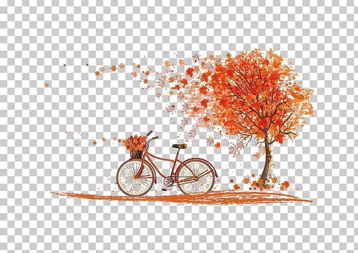 Bicycle Autumn Leaf Color Cycling PNG, Clipart, Branch, Color, Computer Wallpaper, Design, Encapsulated Postscript Free PNG Download