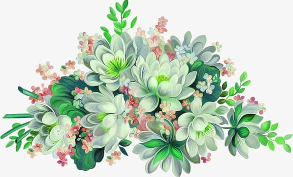 Watercolor flowers green. Png clipart