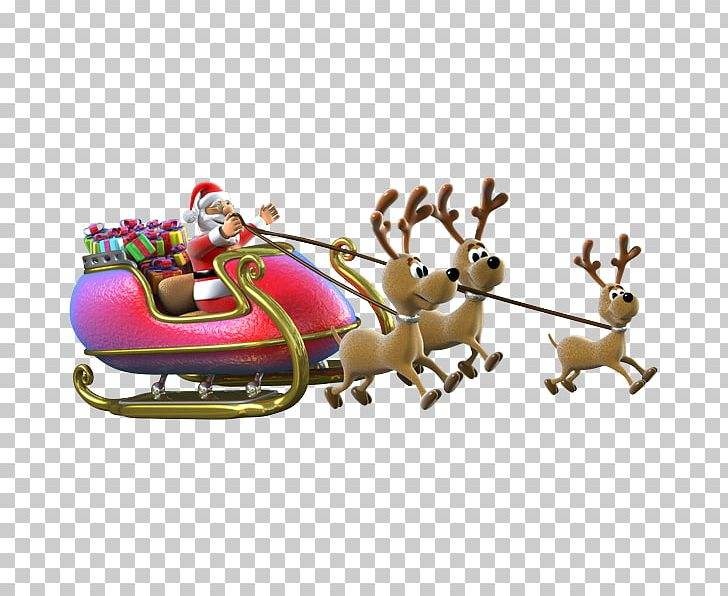 Reindeer Santa Claus Sled Gift Christmas PNG, Clipart,  Free PNG Download
