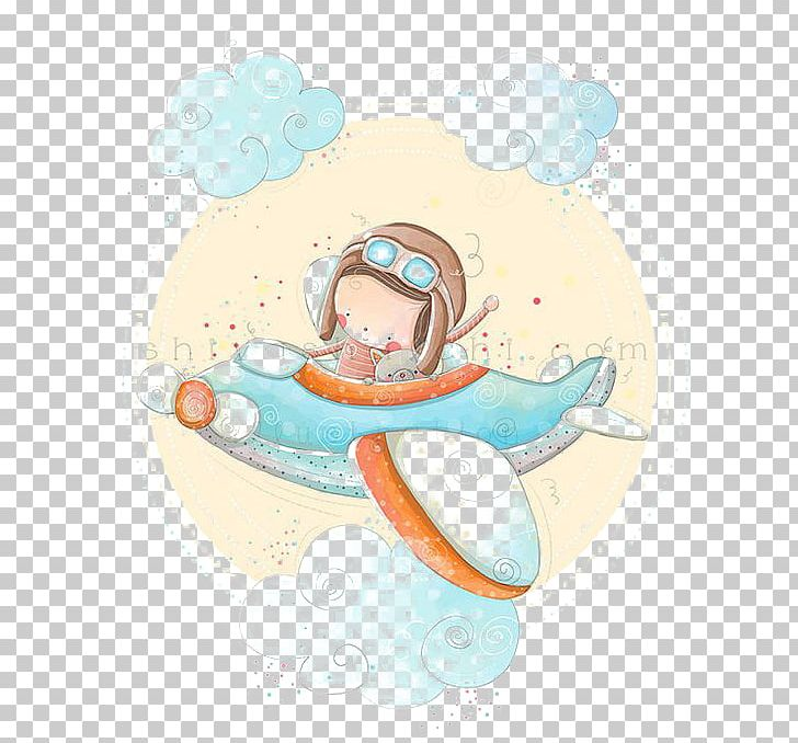 Airplane baby. Paper shower drawing child