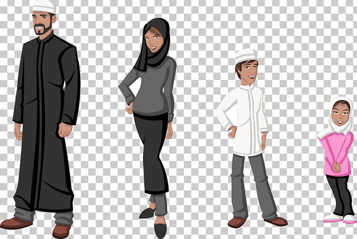 Muslim Cartoon Islam Png Clipart Characters Child Clothing Family Fashion Free Png Download