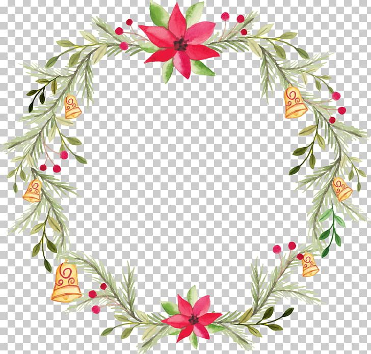 Watercolor Christmas Wreath Png.Wreath Flower Watercolor Painting Png Clipart Christmas
