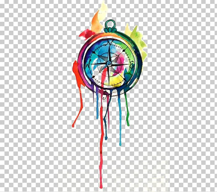 Compass watercolor PNG Image.