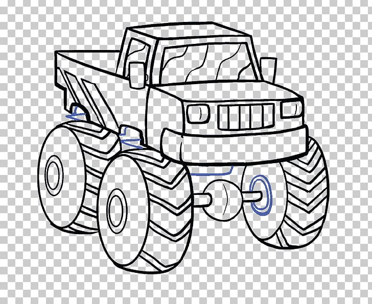 Pickup Truck Car Drawing Monster Truck Png Clipart Artwork Automotive Design Black And White Bumper Car