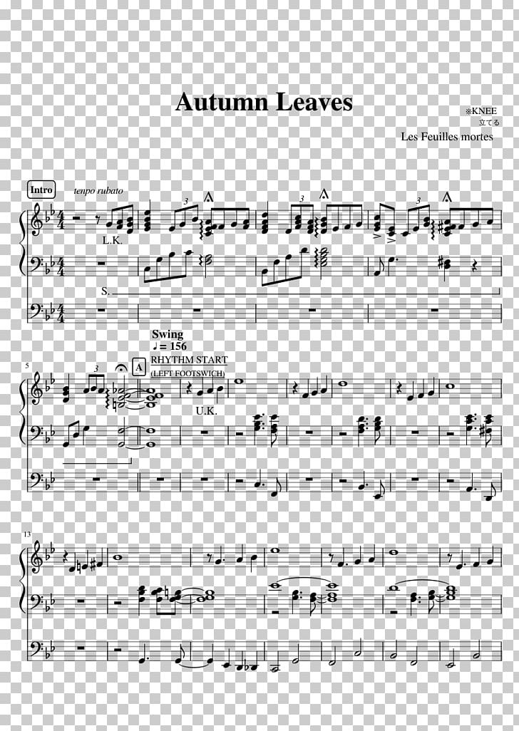 Sheet Music MuseScore Autumn Leaves Flute PNG, Clipart
