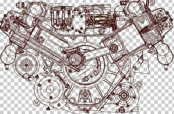 Engine Blueprint Car Drawing PNG, Clipart, Amusement Park, Architectural Drawings, Auto Part, Black And White, Encapsulated Postscript Free PNG Download