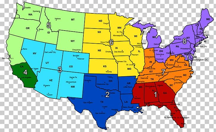 Midwestern United States Region Map Southeastern United ...