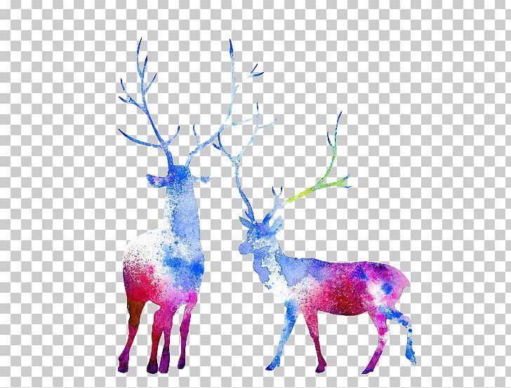 Moose Reindeer Watercolor Painting Elk Capreolinae PNG, Clipart, Animals, Antler, Art, Blue, Branch Free PNG Download