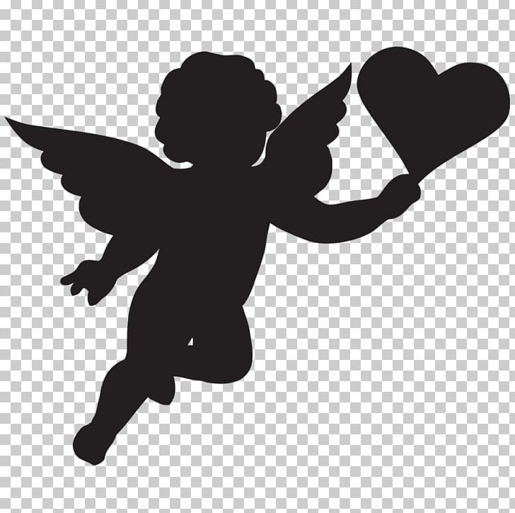 Cherub Cupid Silhouette Png Clipart Angel Baby Art Art Angel Black And White Cartoon Free Png