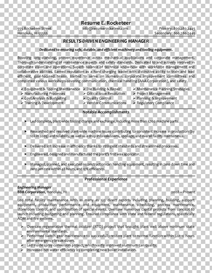 Résumé Engineering Management Project Engineering Project ...