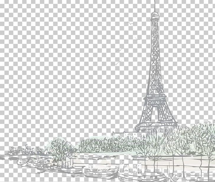 Eiffel Tower Seine Sacré-Cœur PNG, Clipart, Artwork, Black And White, Drawing, Eiffel Tower, France Free PNG Download