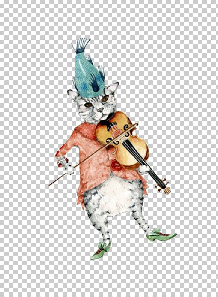 Cat Violin Fiddle Watercolor Painting Illustration PNG, Clipart, Art, Cat, Cat Illustration, Child, Drawing Free PNG Download