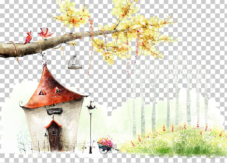 Fairy Tale House High-definition Television PNG, Clipart, Blossom, Branch, Building, Cartoon, Chalet Free PNG Download