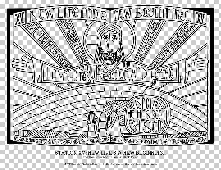Stations Of The Cross Coloring Book Resurrection Of Jesus Christian Cross PNG, Clipart, Area, Art, Black And White, Cartoon, Child Free PNG Download