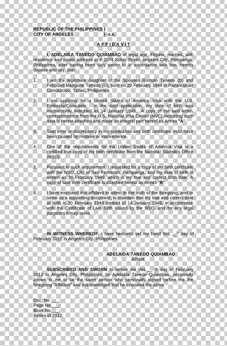 Document Birth Certificate Affidavit Date De Naissance PNG